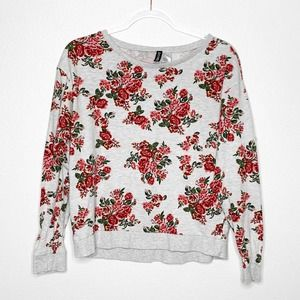 DIVIDED H&M Floral Cropped Sweater